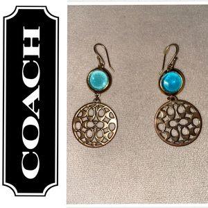 Signature C gold drop earrings w/ Ice Blue Stones